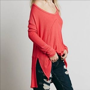 Free People Sunset Park Coral Thermal Top XS